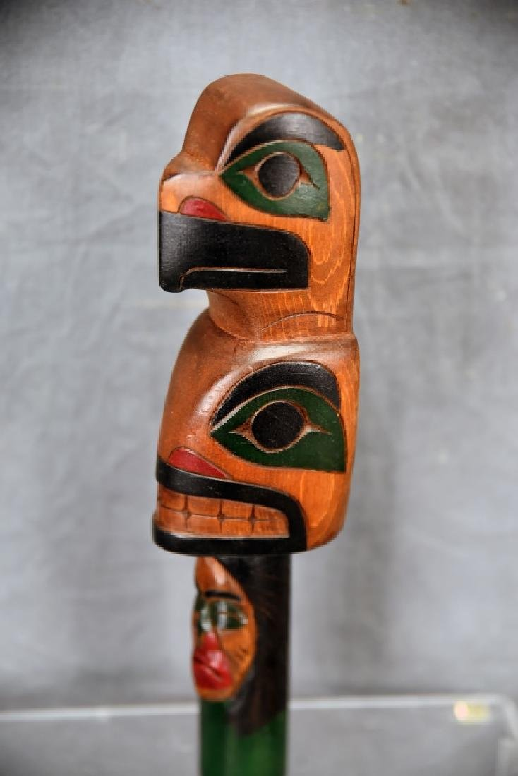 """Northwest Native Carved Wooden Rattle, Signed """"A"""" - 3"""