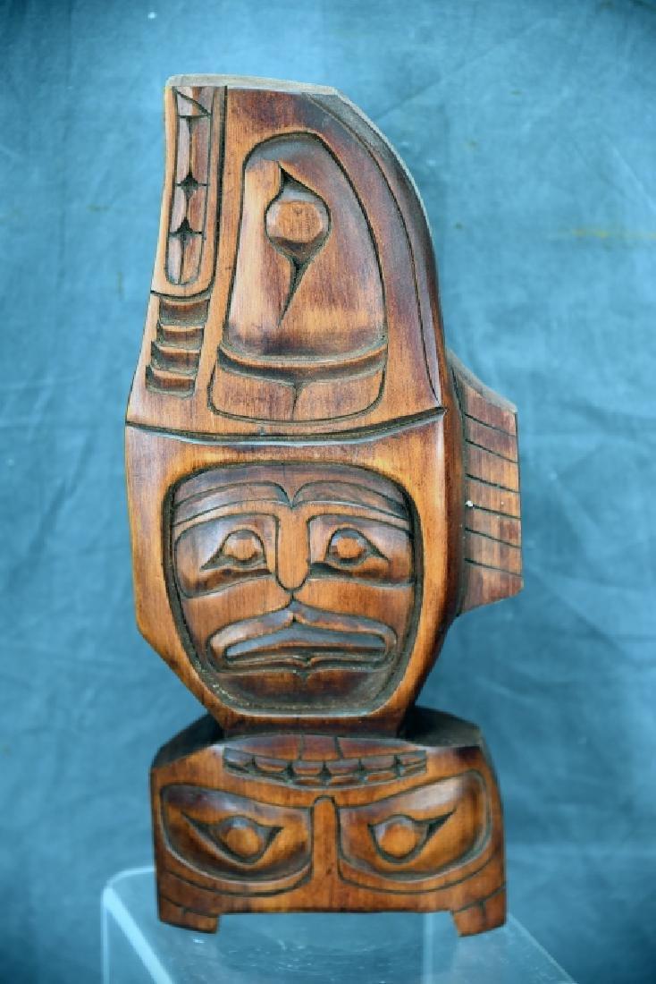 Northwest Native Carved Wooden Fish Mask Frog Figure