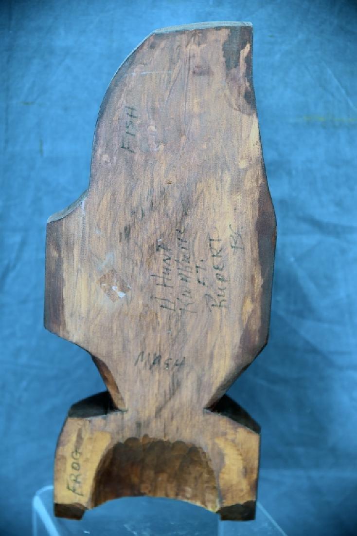 Northwest Native Carved Wooden Fish Mask Frog Figure - 2