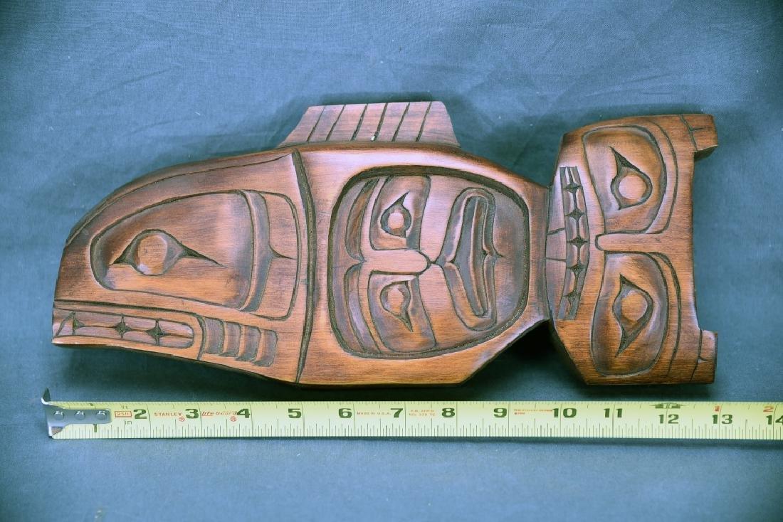 Northwest Native Carved Wooden Fish Mask Frog Figure - 6
