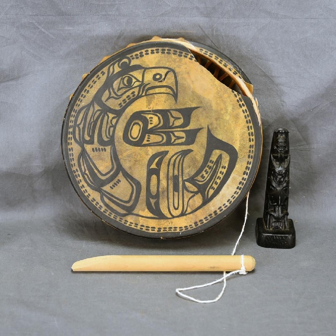 "12"" Decorated Northwest Coastal Skin Head Drum"