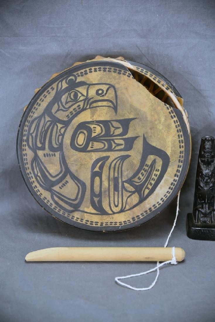 "12"" Decorated Northwest Coastal Skin Head Drum - 2"
