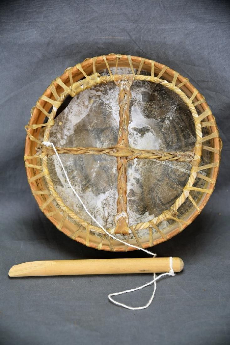 "12"" Decorated Northwest Coastal Skin Head Drum - 6"