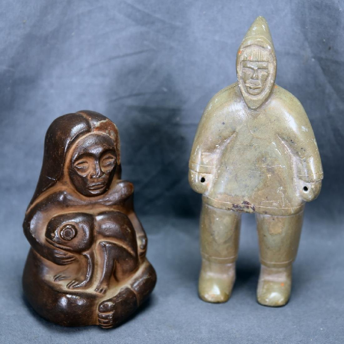 2 Northwest Coastal Area Stone Carvings, Man and Woman