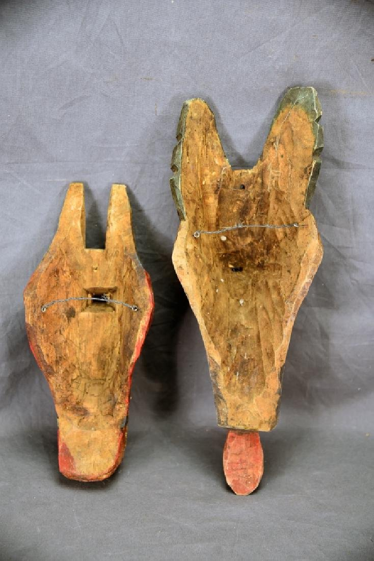 2 Hand Carved and Painted Wooden Face Masks - 5