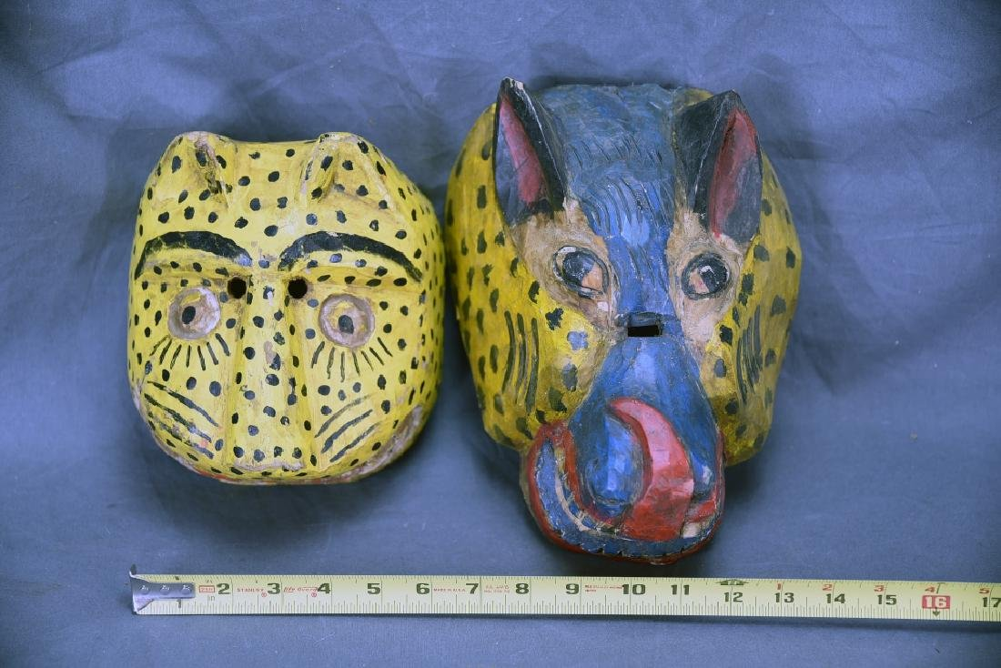 2 Hand Carved and Painted Wooden Face Masks - 2