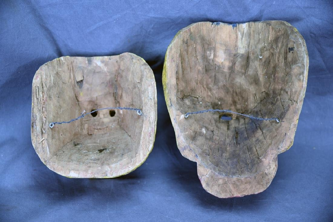 2 Hand Carved and Painted Wooden Face Masks - 3