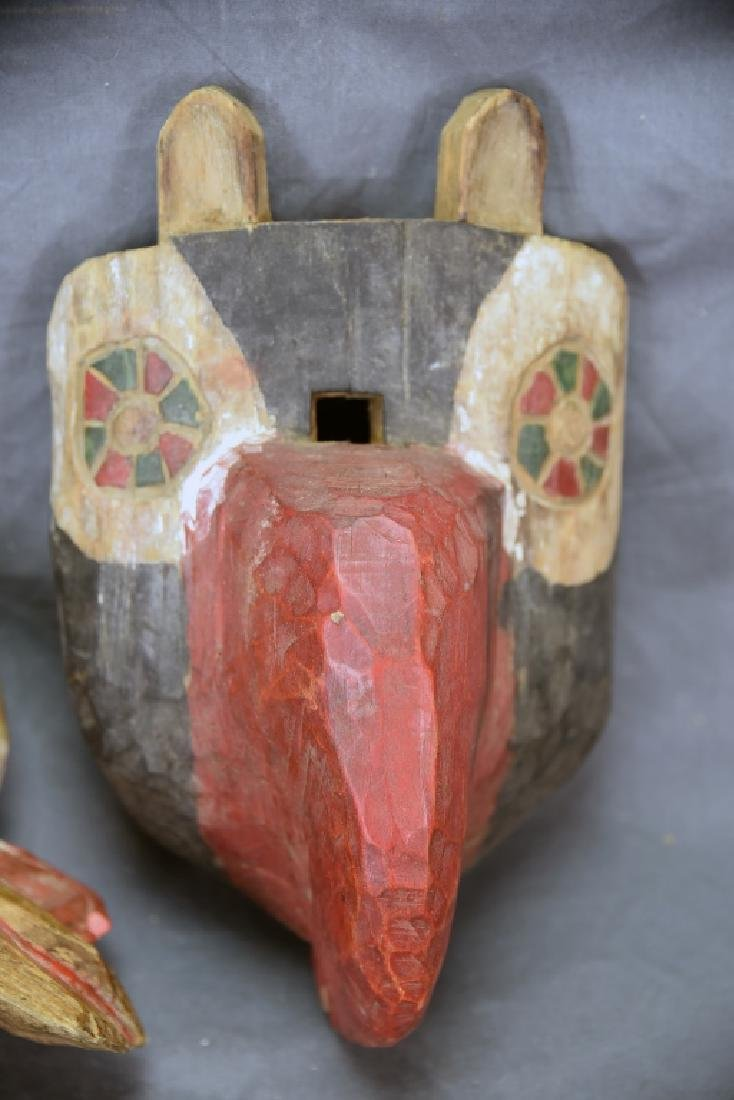 2 Hand Carved and Painted Wooden Face Masks - 4