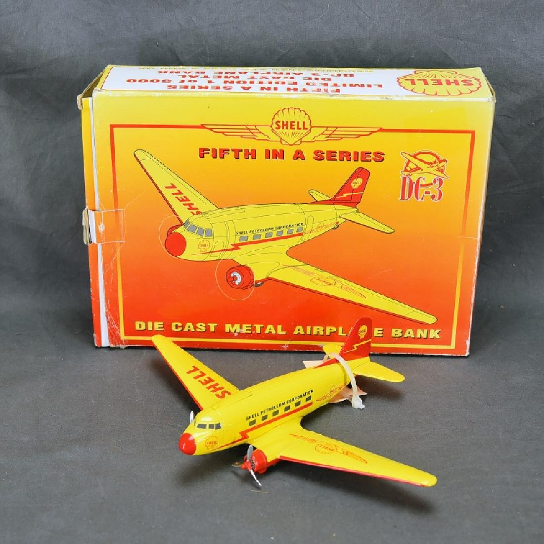 Shell Diecast DC-3 Airplane Bank with Box