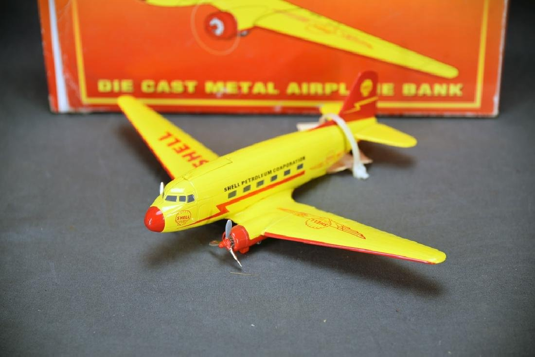 Shell Diecast DC-3 Airplane Bank with Box - 2
