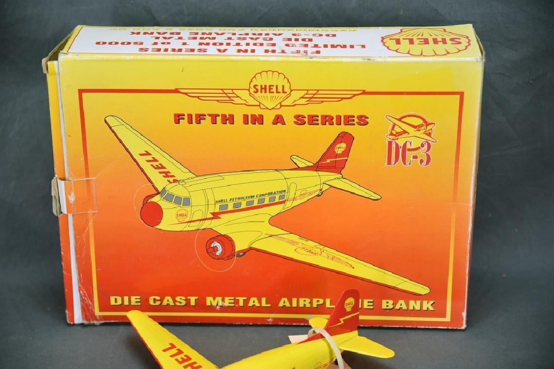 Shell Diecast DC-3 Airplane Bank with Box - 3