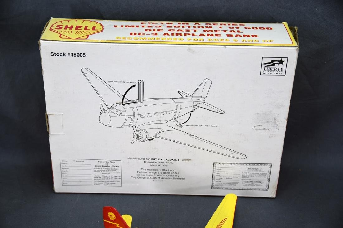 Shell Diecast DC-3 Airplane Bank with Box - 4