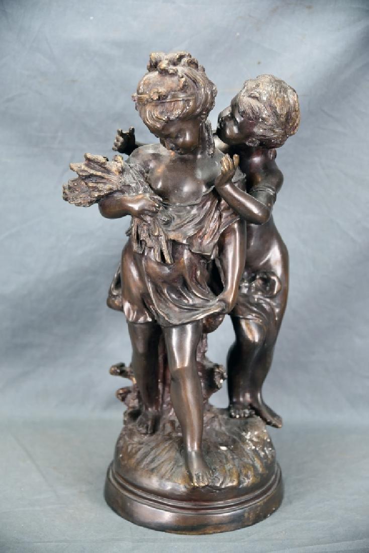 Antique Bronze Sculpture Pair of Young Girls