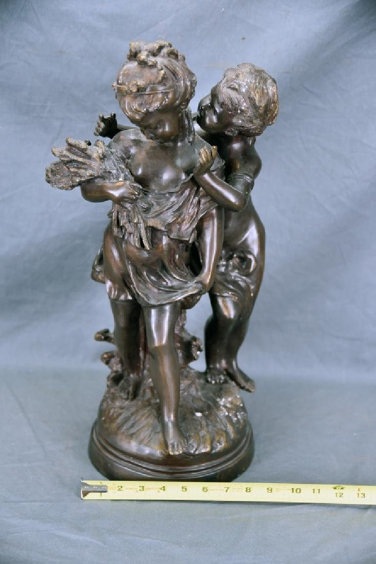 Antique Bronze Sculpture Pair of Young Girls - 2