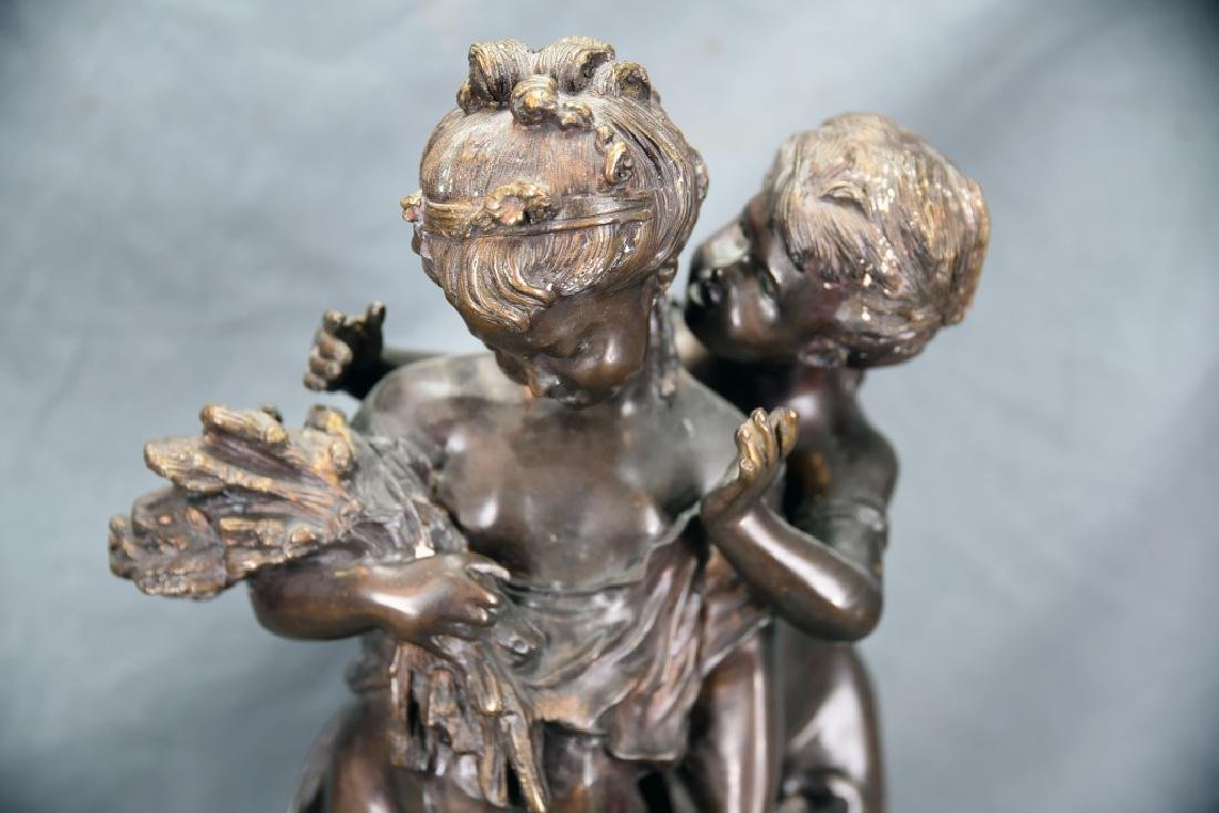 Antique Bronze Sculpture Pair of Young Girls - 4