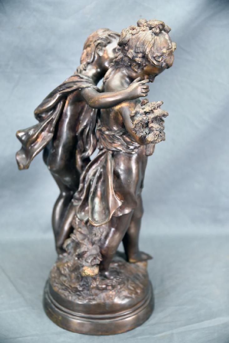 Antique Bronze Sculpture Pair of Young Girls - 5