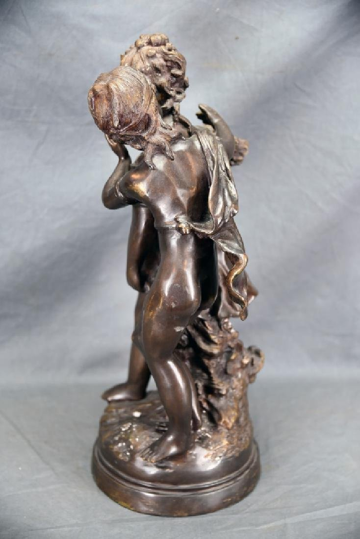Antique Bronze Sculpture Pair of Young Girls - 6
