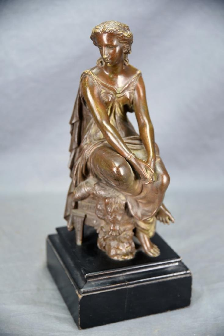 Antique Neoclassical Bronze Sculpture Seated Woman