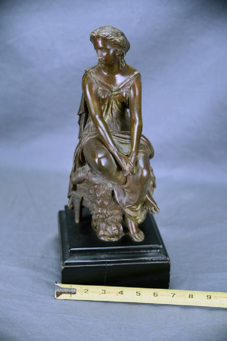 Antique Neoclassical Bronze Sculpture Seated Woman - 2