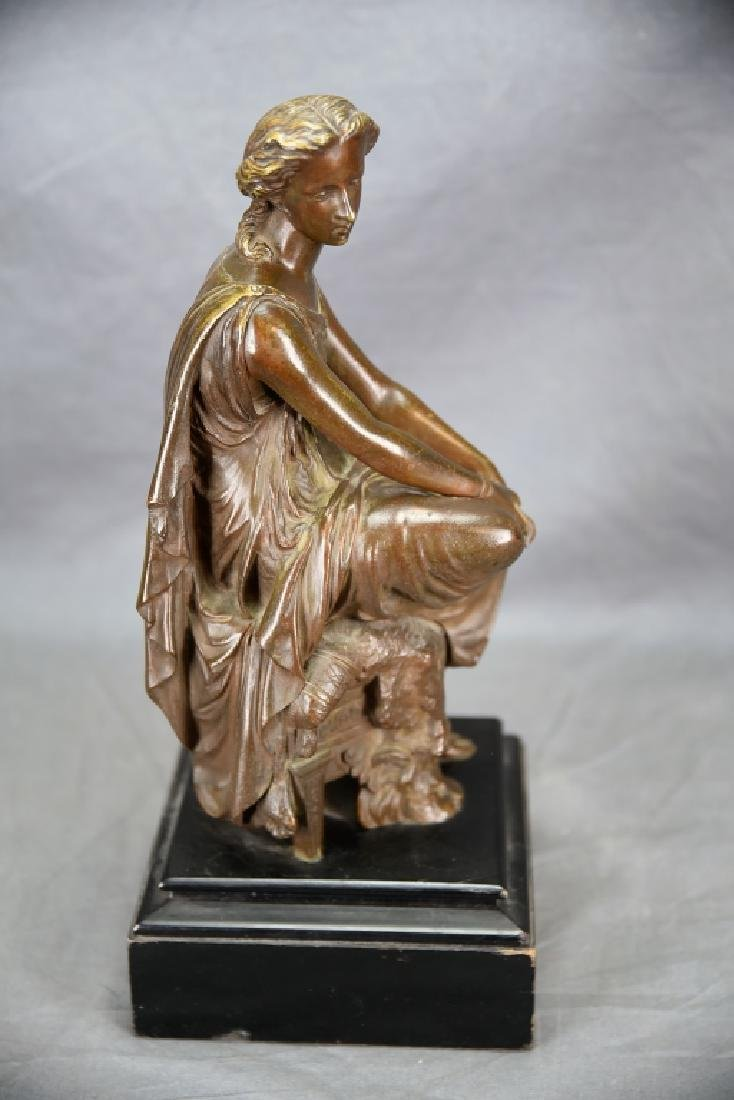 Antique Neoclassical Bronze Sculpture Seated Woman - 3