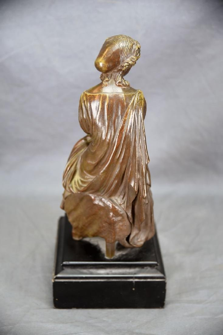 Antique Neoclassical Bronze Sculpture Seated Woman - 4
