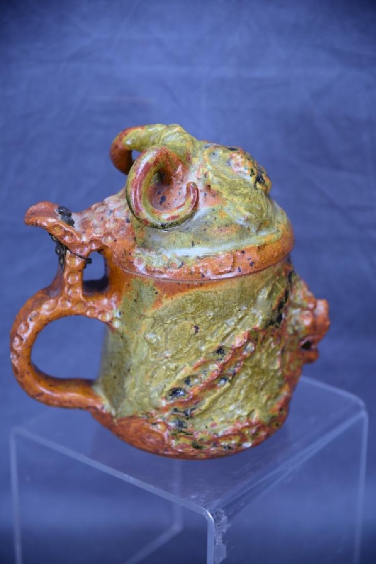 Signed Hand Made Studio Pottery Lidded Tankard - 3