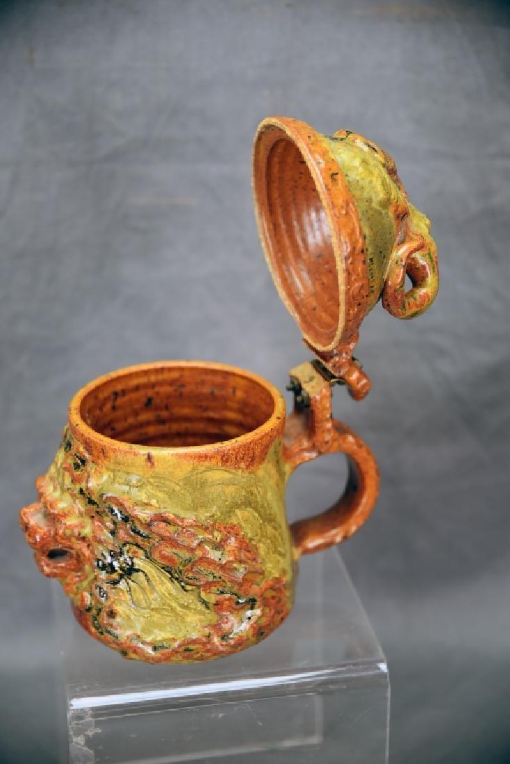 Signed Hand Made Studio Pottery Lidded Tankard - 6