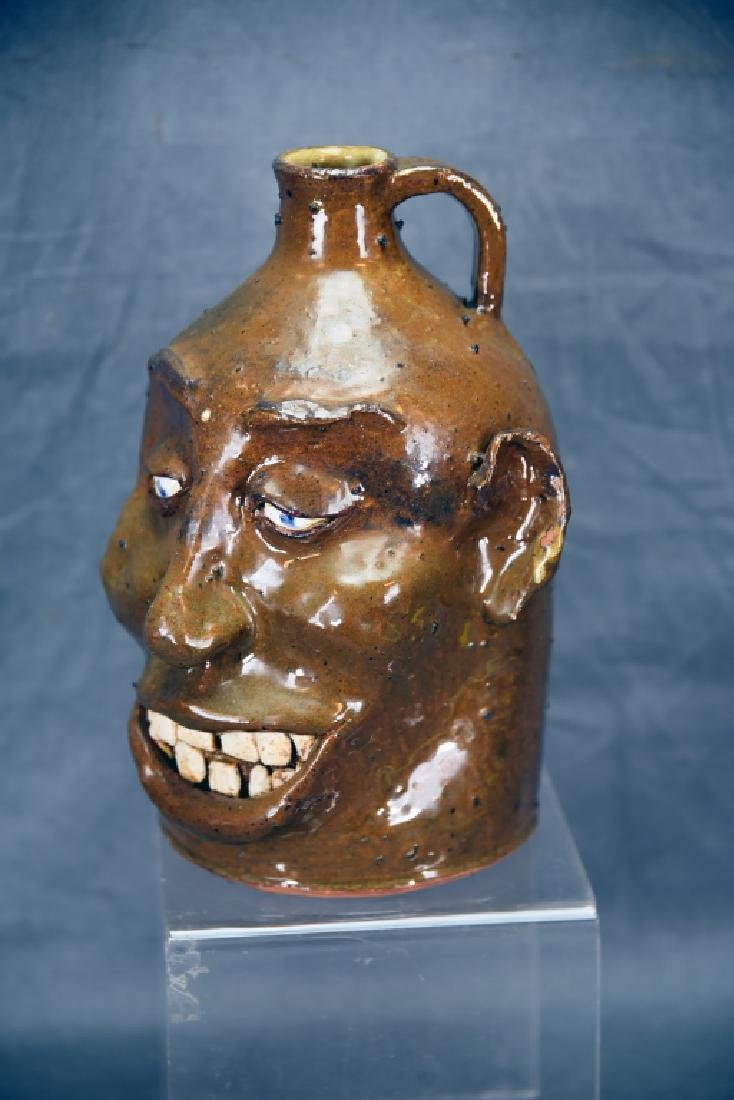 Signed Hand Made Grotesque Ugly Face Jug