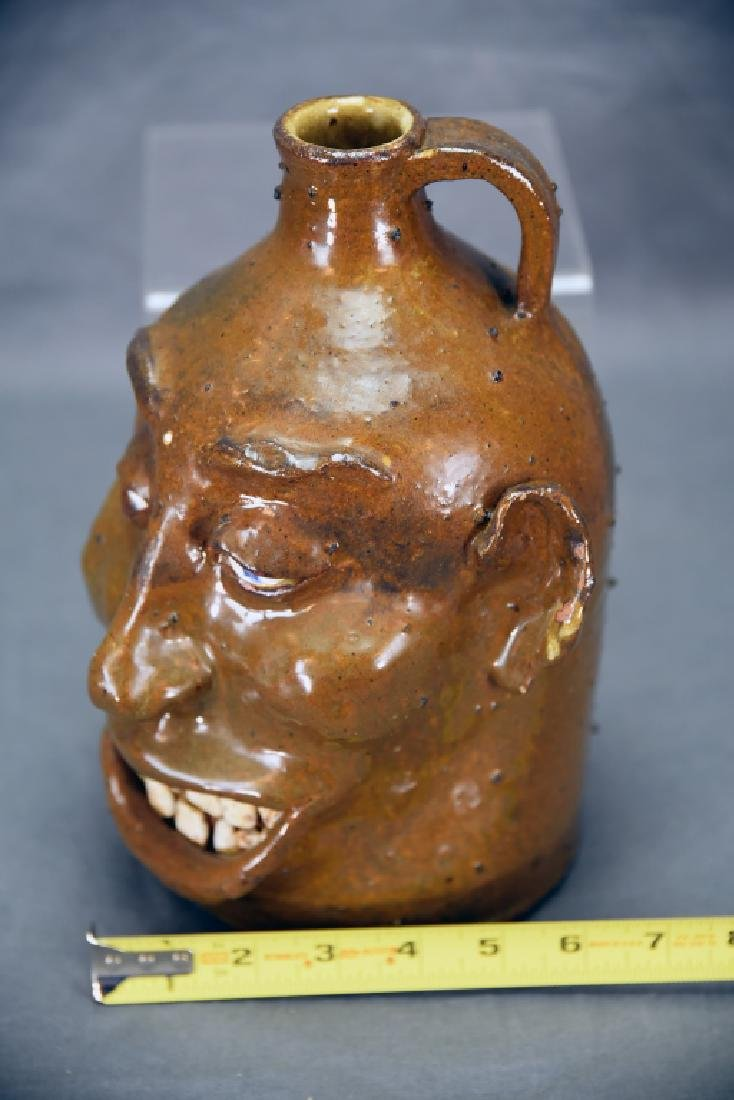 Signed Hand Made Grotesque Ugly Face Jug - 2