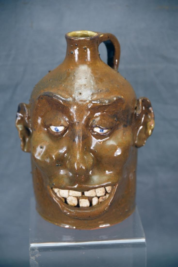 Signed Hand Made Grotesque Ugly Face Jug - 3
