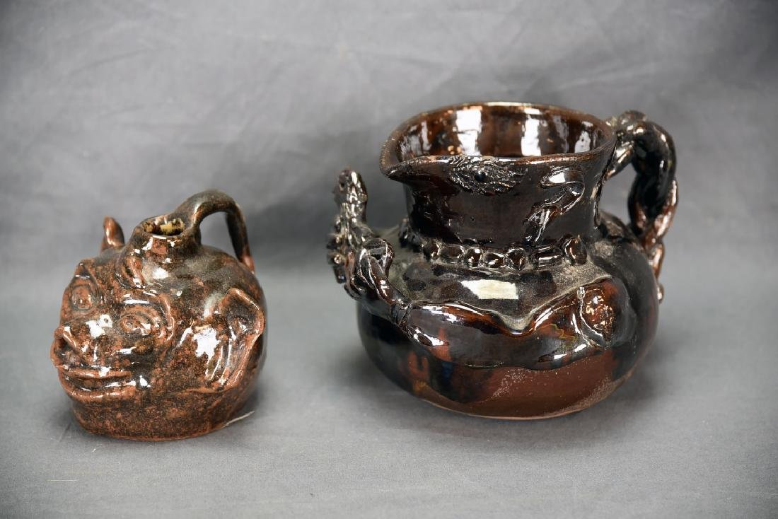 Lot of 2, Red Clay Grotesque Jug and Pitcher