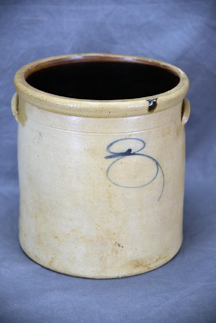 2 Handled Stoneware Crock Blue Decoration