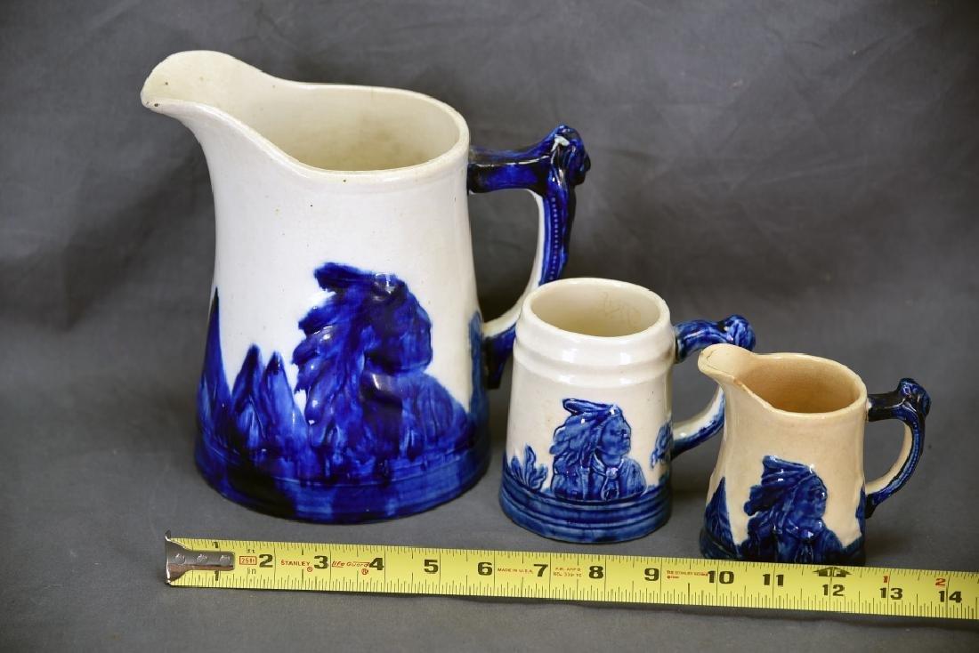 Old Sleepy Eye Pottery 2 Pitchers and Mug - 2