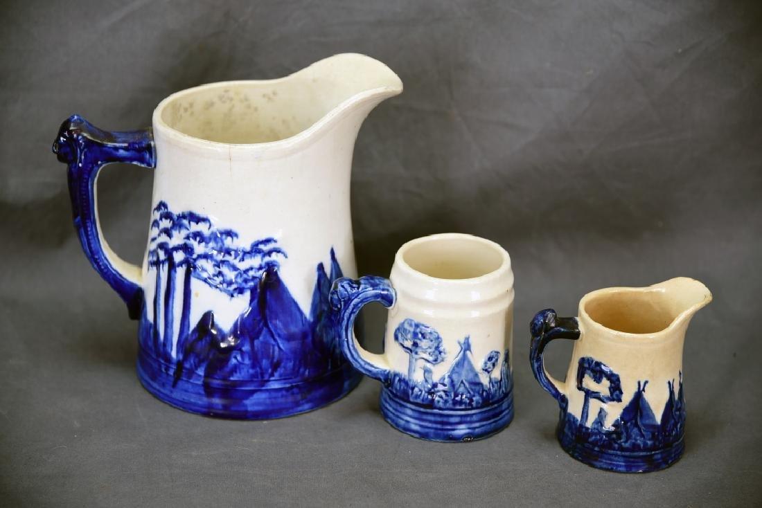 Old Sleepy Eye Pottery 2 Pitchers and Mug - 3