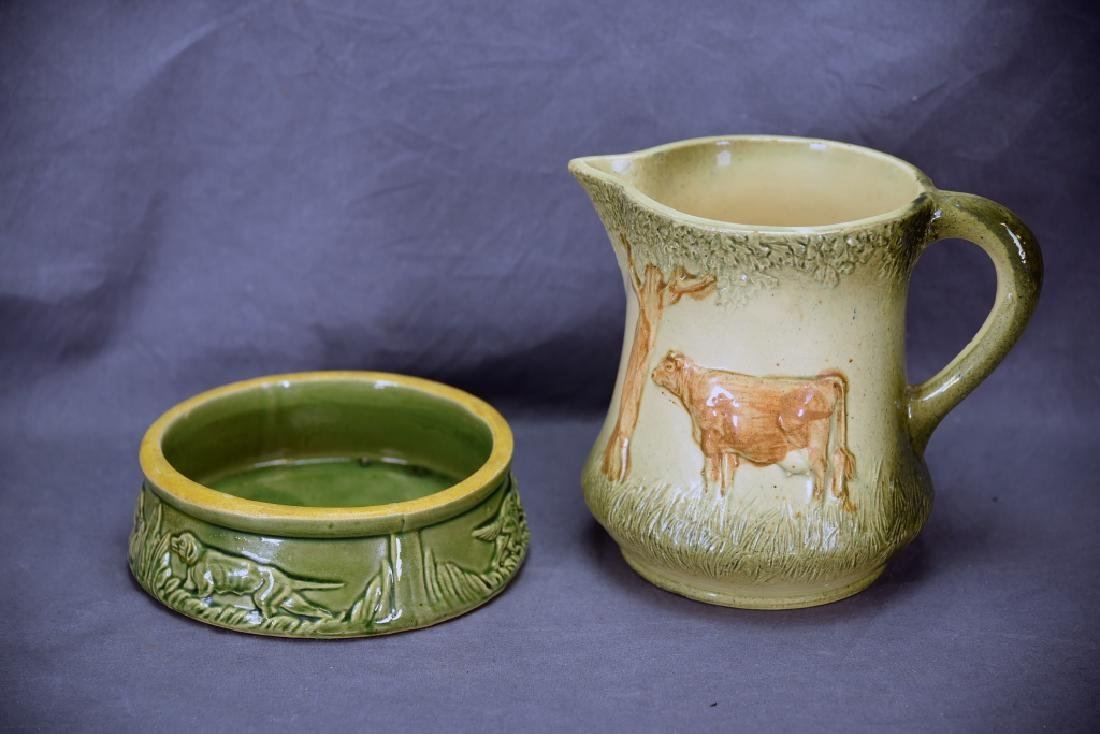 Unmarked Roseville Pottery Cow Pitcher, Dog Dish