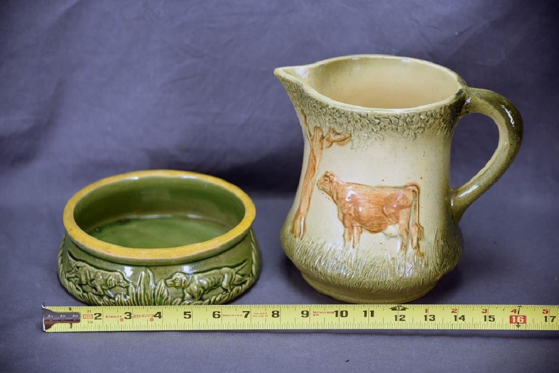 Unmarked Roseville Pottery Cow Pitcher, Dog Dish - 2