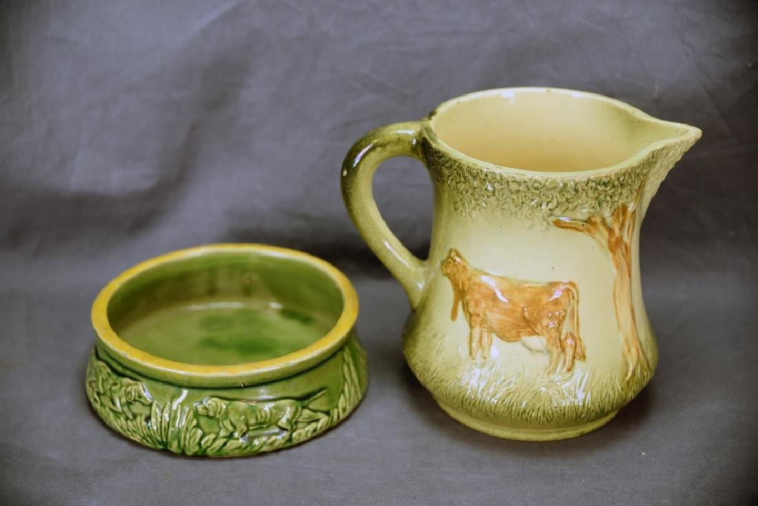 Unmarked Roseville Pottery Cow Pitcher, Dog Dish - 3