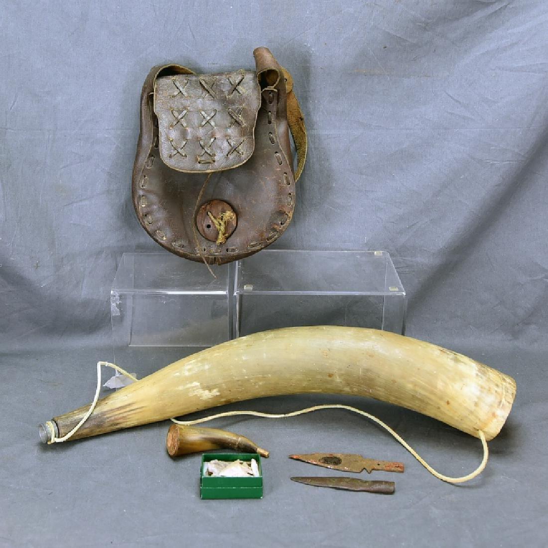 Native American Horn Bugle, Powder Horn…