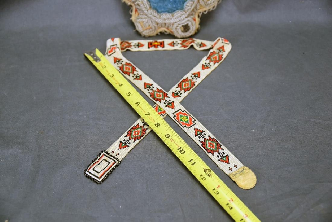 Victorian Era Ojibwe Beaded Pin Cushion, Belt - 2