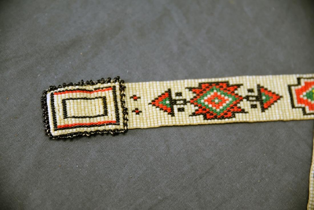 Victorian Era Ojibwe Beaded Pin Cushion, Belt - 5