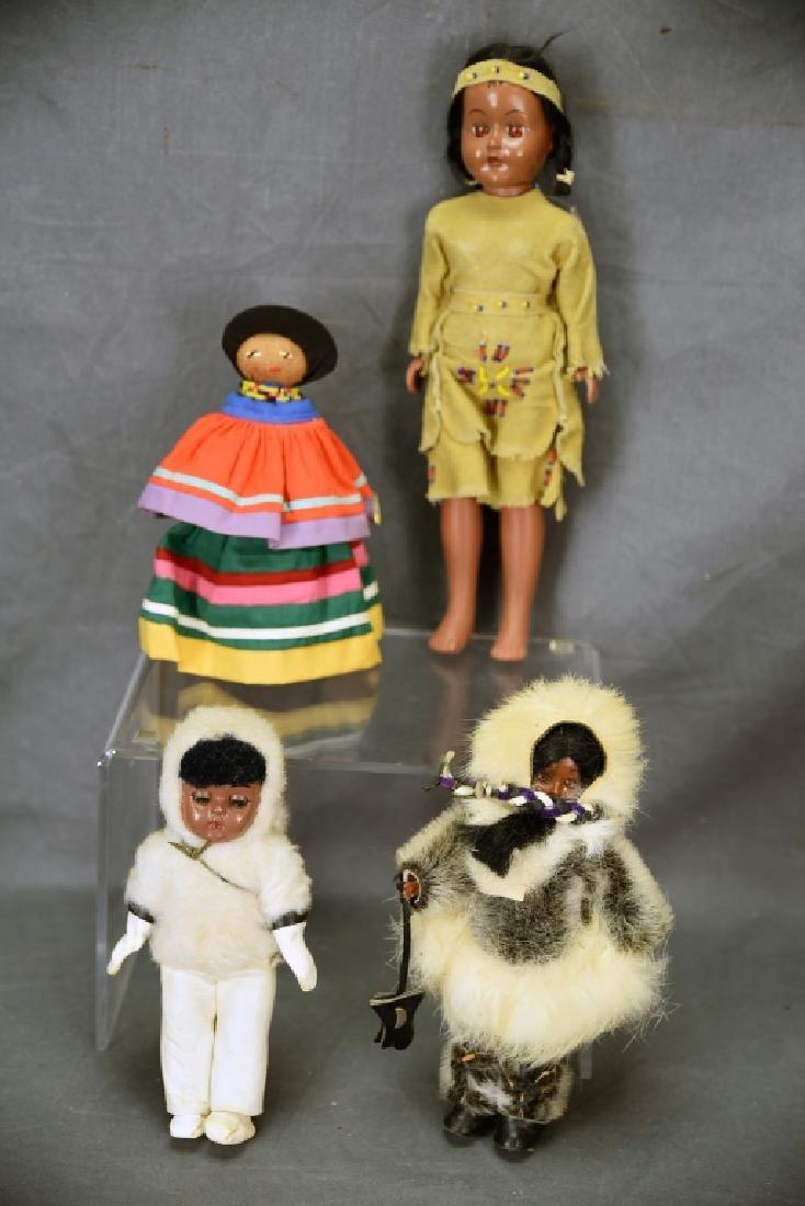 4 Vtg. Dolls, Native American Clothing, Seminole