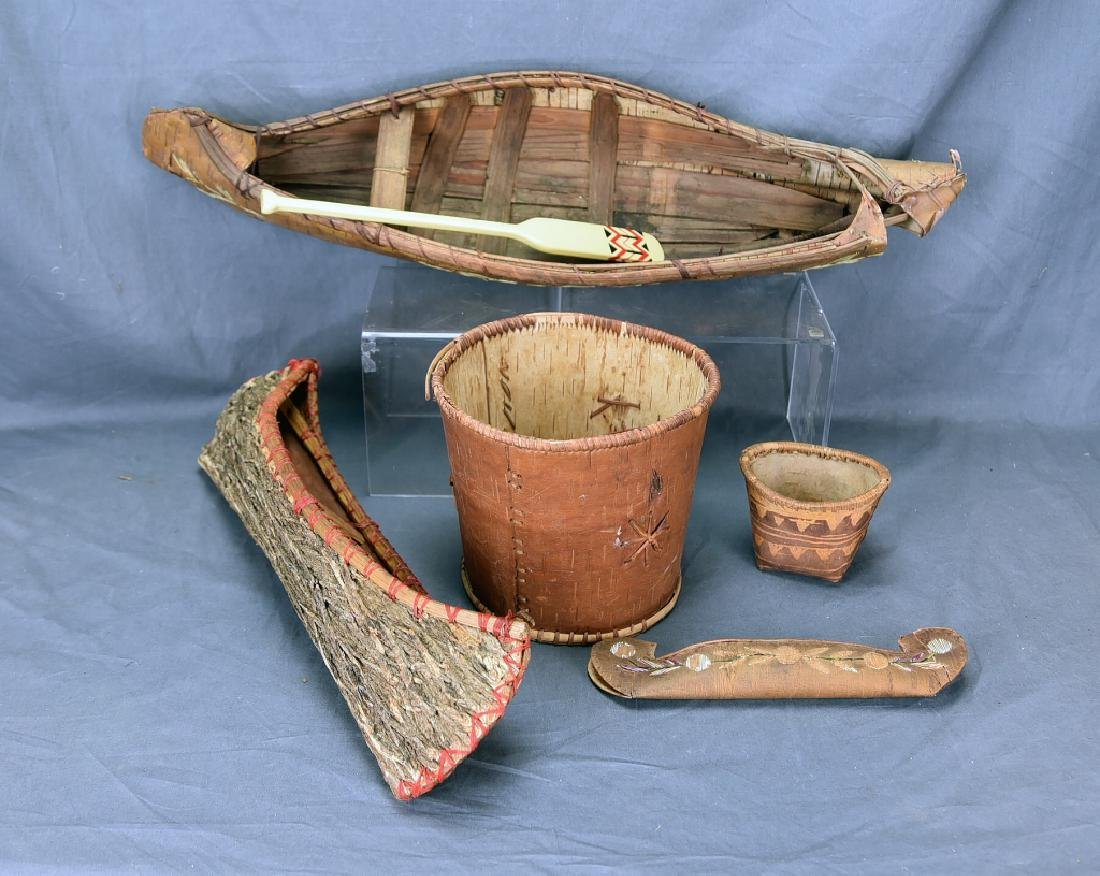 2 Native Amercan Quill Decorated Birch Bark Canoes