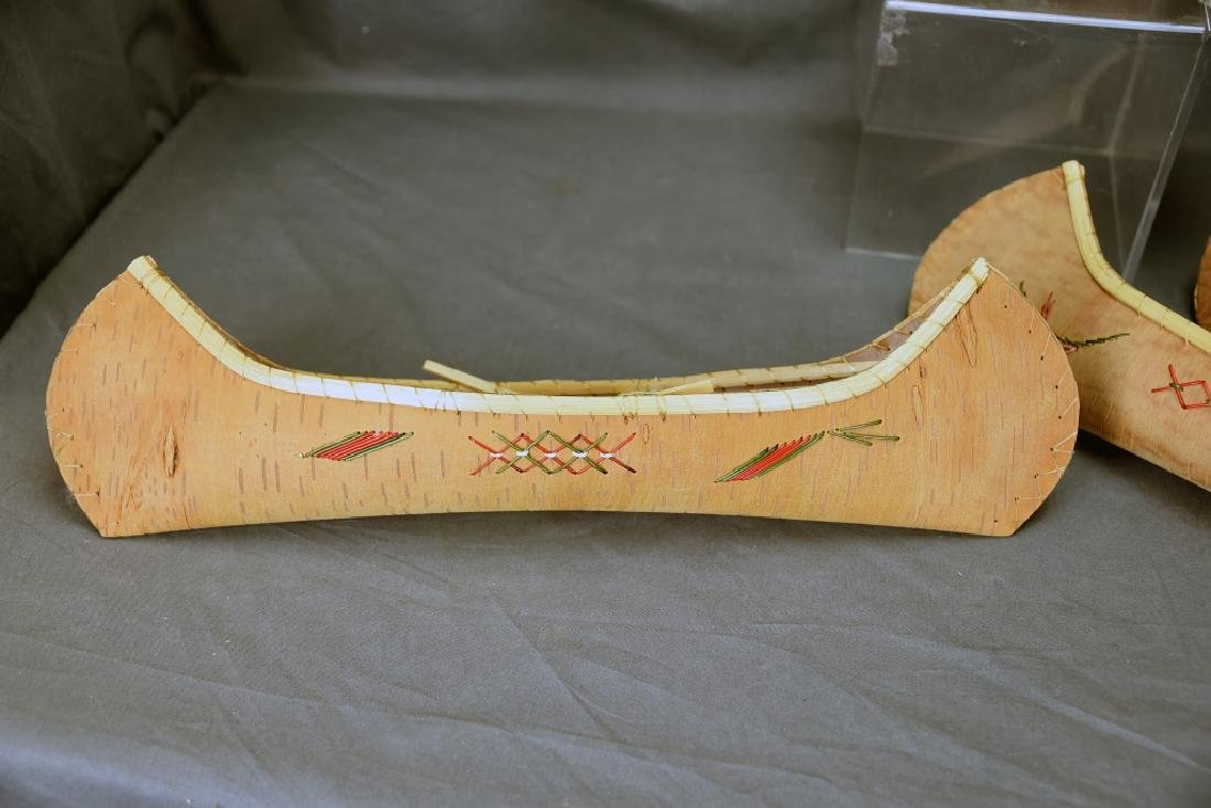 4 Agawa Quill Decorated Birch Bark Canoes… - 4