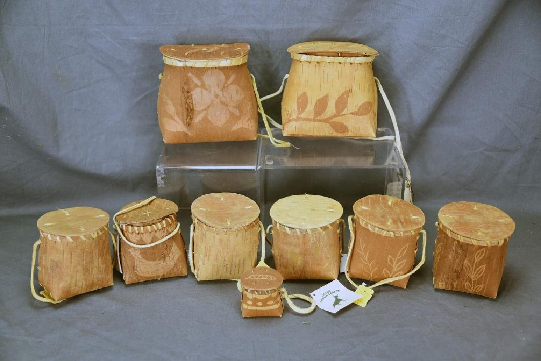9 Native American Decorated Birch Bark Baskets