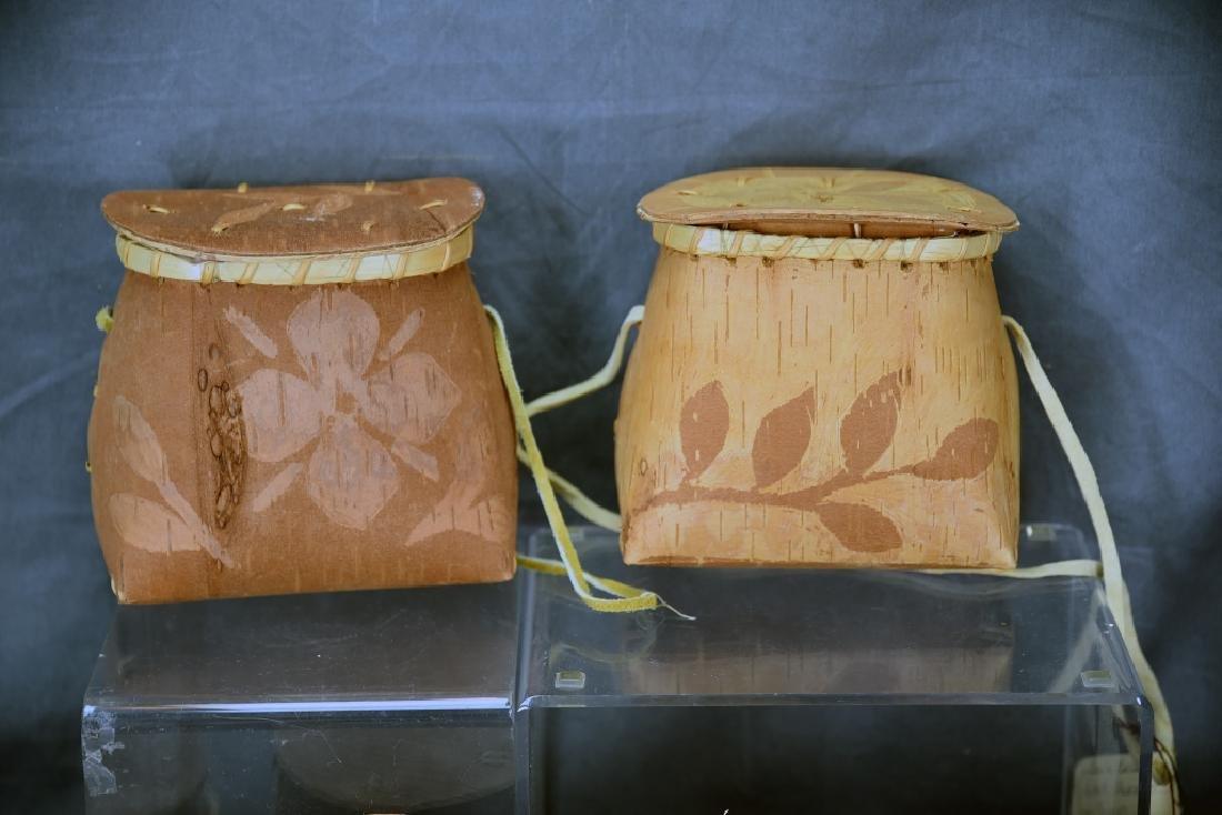 9 Native American Decorated Birch Bark Baskets - 2