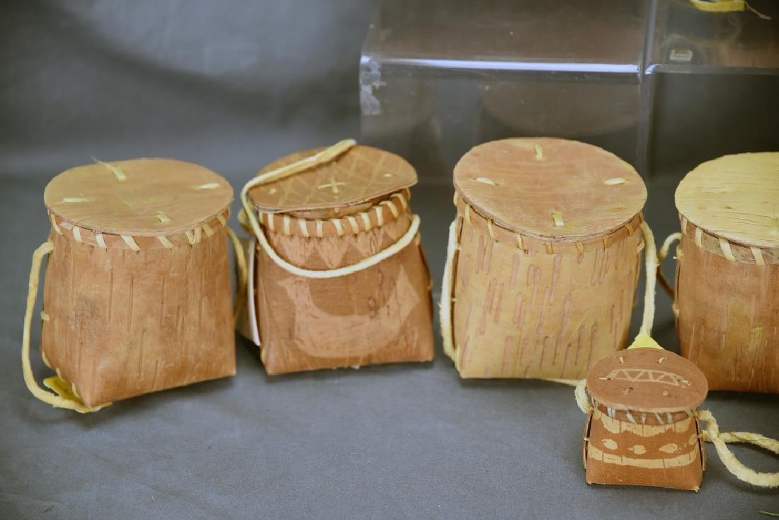 9 Native American Decorated Birch Bark Baskets - 3