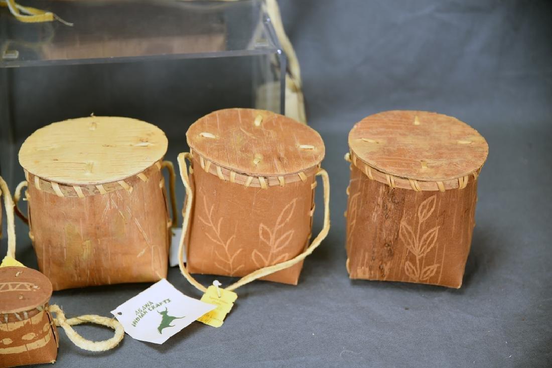 9 Native American Decorated Birch Bark Baskets - 4