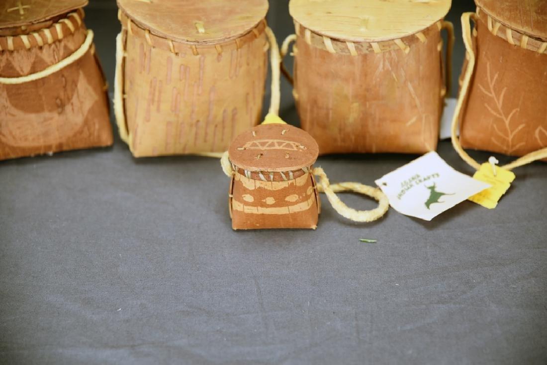 9 Native American Decorated Birch Bark Baskets - 5