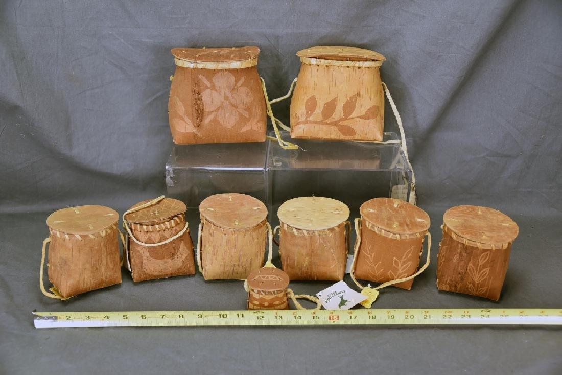 9 Native American Decorated Birch Bark Baskets - 6