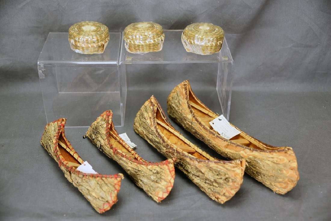 4 Ojibwa Elm Bark Canoes, 3 Sweet Grass Baskets